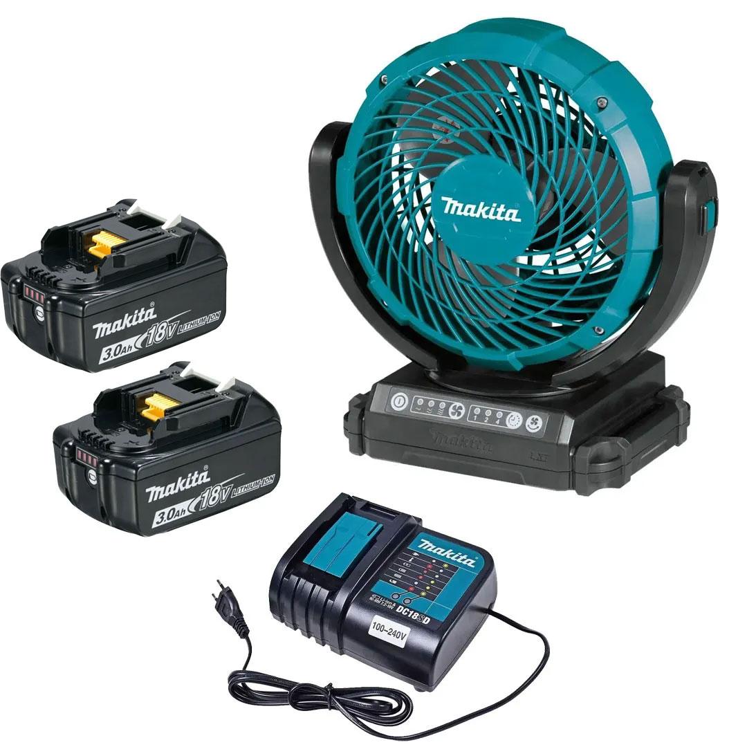 Ventilador a Bateria 18V LXT - DCF102Z + Bateria 3AH BL1830 + Carregador 18V DC18SD Bivolt - Makita
