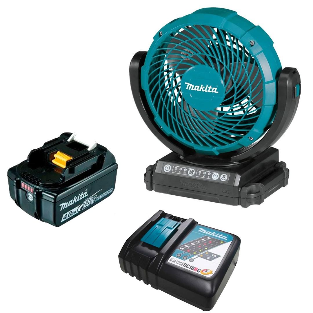 Ventilador a Bateria 18V LXT - DCF102Z + Bateria 4AH BL1840 + Carregador 18V DC18RC Bivolt - Makita