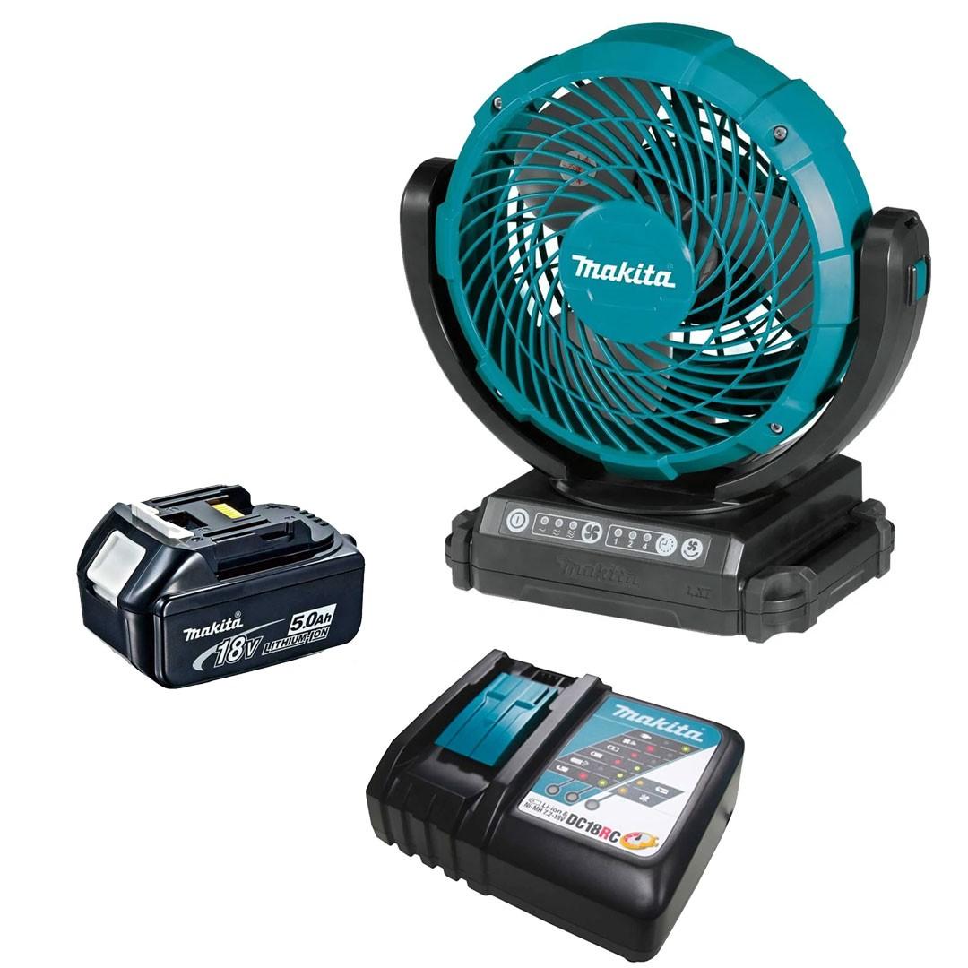 Ventilador a Bateria 18V LXT - DCF102Z + Bateria 5AH BL1850 + Carregador 18V DC18RC Bivolt - Makita