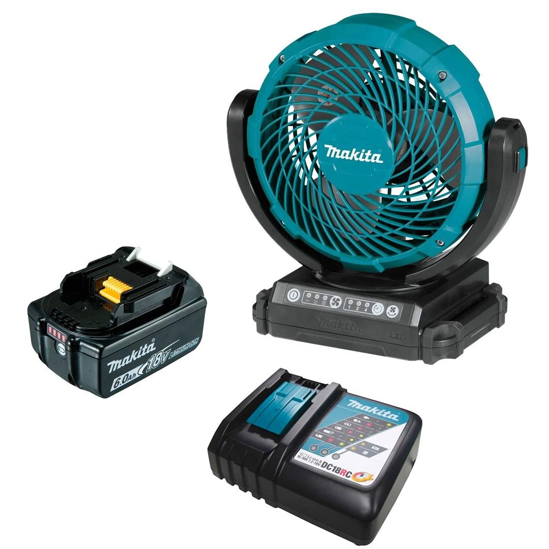 Ventilador a Bateria 18V LXT - DCF102Z + Bateria 6AH BL1860 + Carregador 18V DC18RC Bivolt - Makita