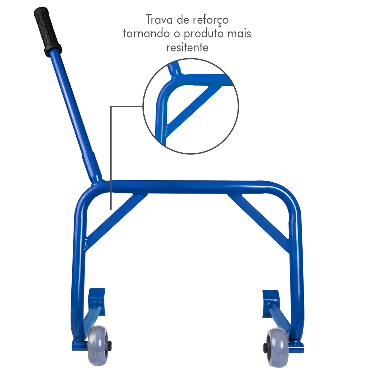 Cavalete Moto Universal Pedaleira Estribo Evolution Racing Azul