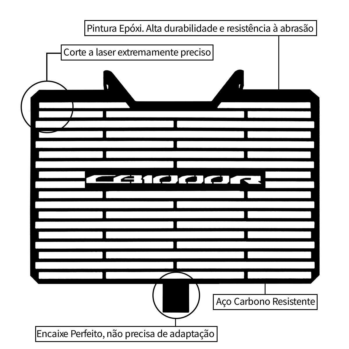Protetor de Radiador Aço Carbono Honda CB1000R CB1000 R 2012 2016