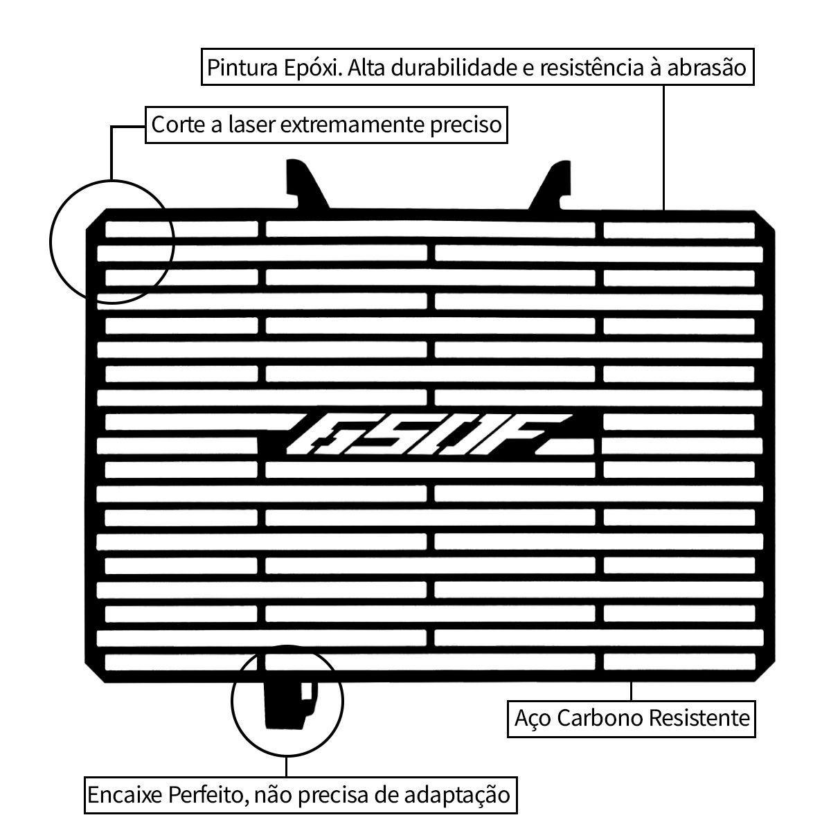Protetor de Radiador Aço Carbono Honda CBR650 F CBR650F 2015 2016 2017