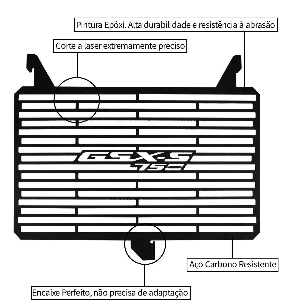 Protetor De Radiador Aço Carbono Suzuki Gsx-S 750 GSXS 750 GSXS750 2017 2018 2019 2020 2021