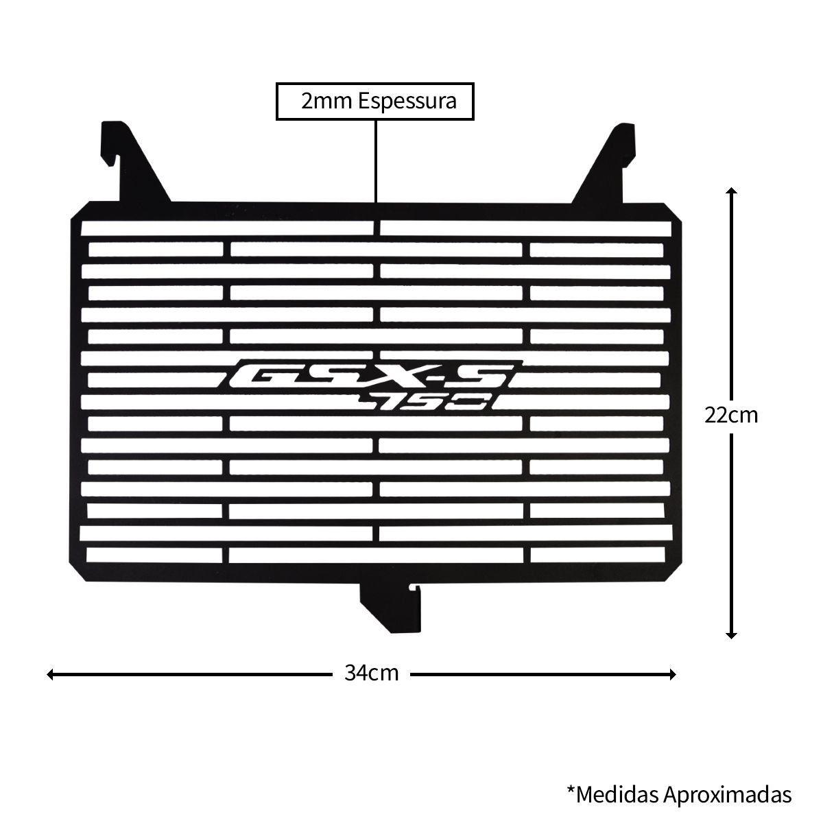Protetor De Radiador Aço Carbono Gsx-S 750 GSXS 750 GSXS750