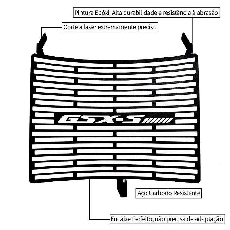 Protetor de Radiador Suzuki GSXS1000 GSX-S1000 GSX-S 1000 2015 2016 2017 2018 2019 2020 2021 Aço Carbono