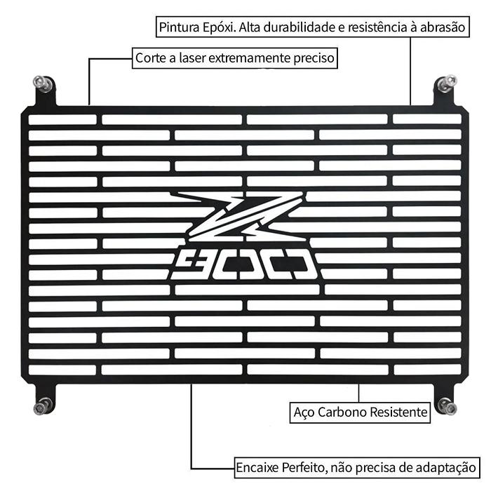 Protetor de Radiador Aço Carbono Kawasaki Z900 2018/2020