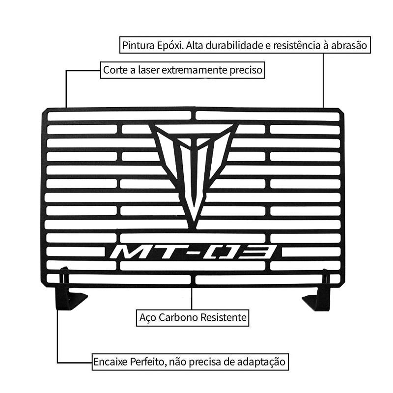 Protetor de Radiador Aço Carbono MT03 MT 03 2017 2018 2019 2020 2021 Com ABS