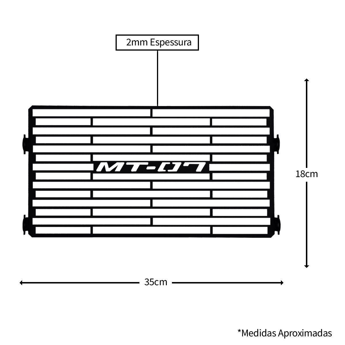 Protetor de Radiador Aço Carbono MT07 MT 07 2014 2015 2016 2017 2018 2019 2020