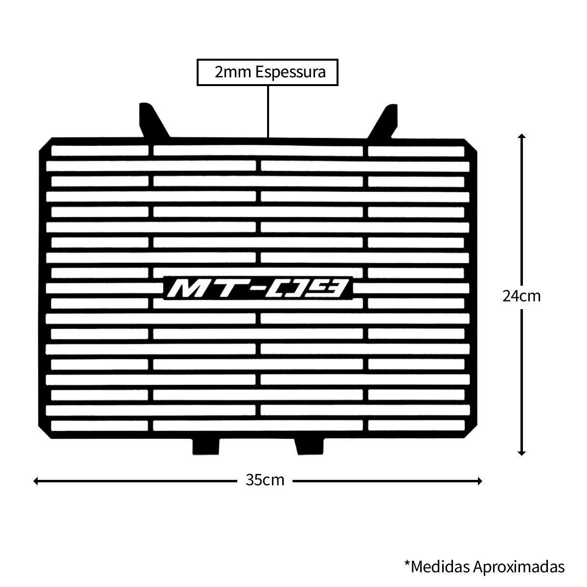 Protetor de Radiador Aço Carbono MT09 MT 09 2015 2016 2017 2018 2019 2020