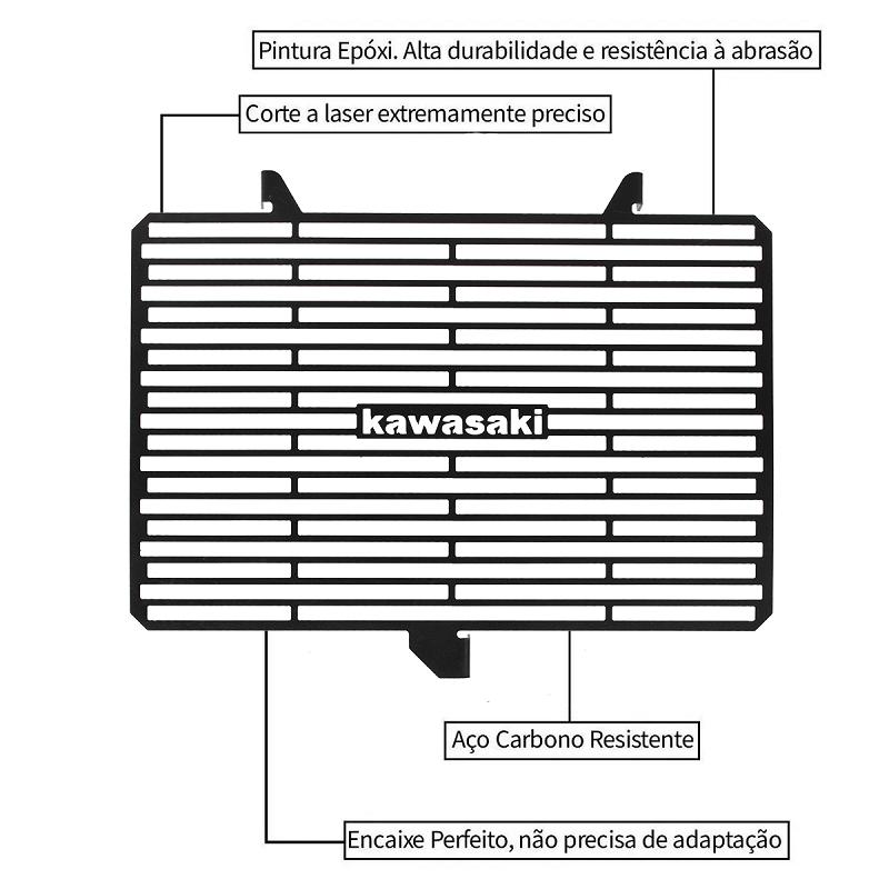 Protetor de Radiador Kawasaki Z300 Z 300 2015 2016 2017 2018 2019 2020 Aço Carbono