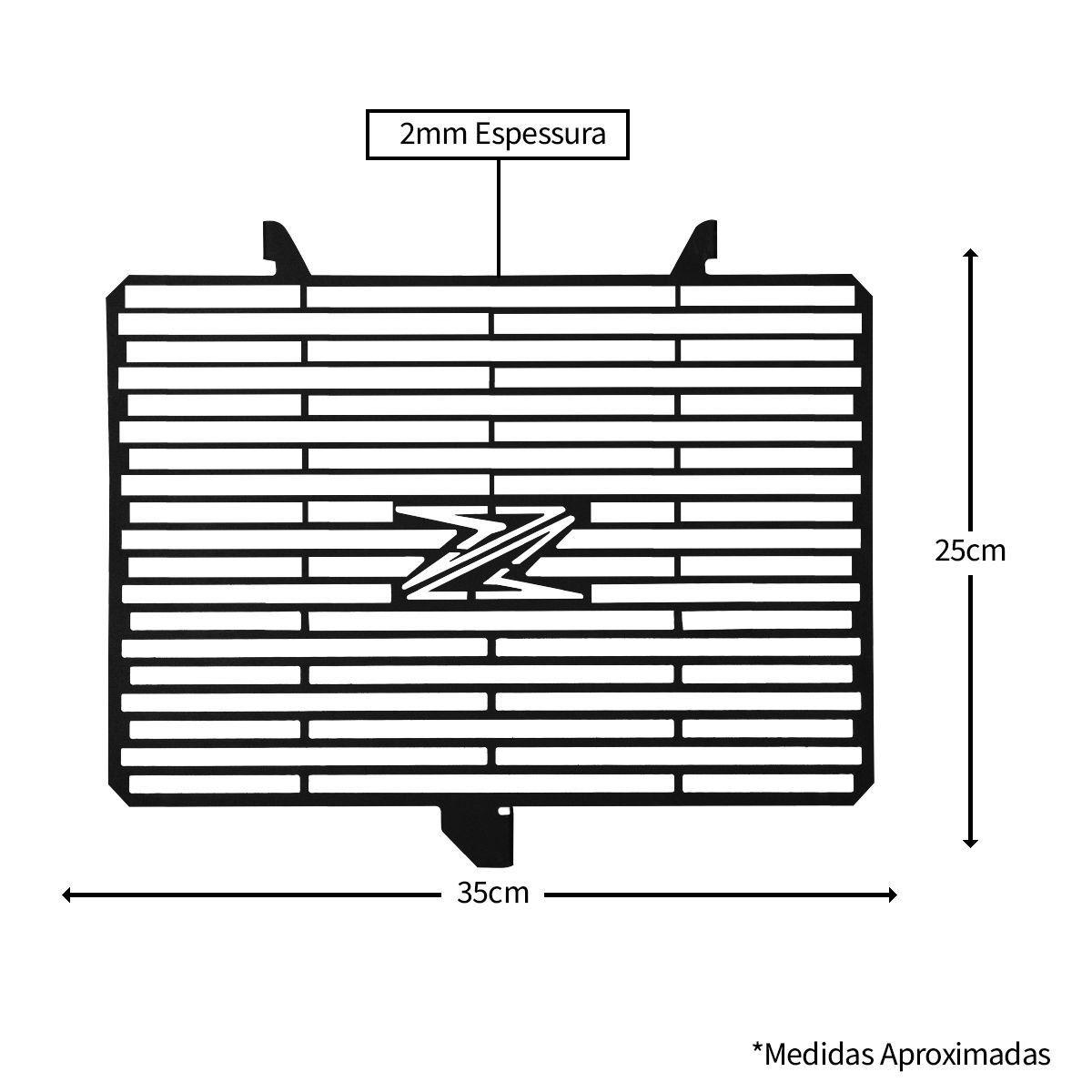 Protetor de Radiador Aço Carbono Z 800 Z800 2013 2014 2015 2016 2017