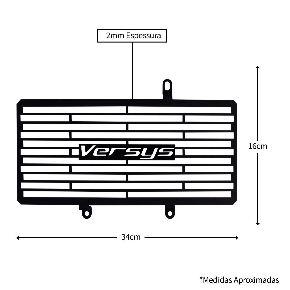 Tela Protetora de Radiador Aço Carbono Evolution Versys 650