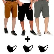 Kit 3 bermudas Sarja + 3 Mascaras Ninja