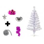 Árvore De Natal Branca Decorada 1,80 Cm 320 Galhos Com 6 Itens