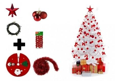 Árvore De Natal Branca Decorada 2,10 Cm 450 Galhos Com 7 Itens