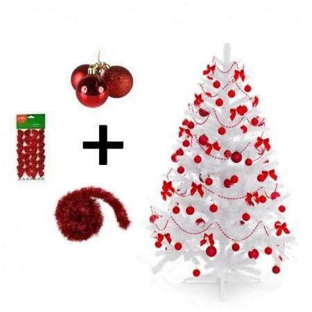 Árvore De Natal Branca Decorada - 4 ITENS
