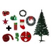 Árvore De Natal Decorada 1,50 Cm 250 Galhos Com 10 Itens