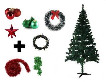 Árvore De Natal Decorada 1,80 Cm 320 Galhos Com 7 Itens