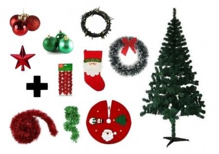 Árvore De Natal Decorada 2,10 Cm 450 Galhos Com 10 Itens