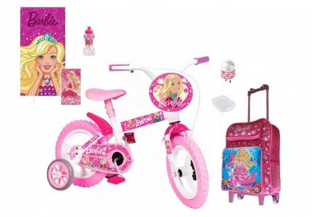 Bicicleta Barbie Aro 12 - 5 itens