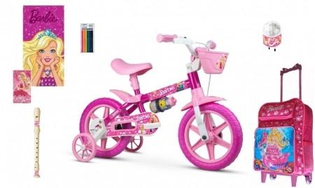 Bicicleta Barbie Aro 12 com 8 itens