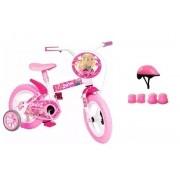 Bicicleta Barbie Aro 12 com Capacete e Proteção
