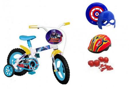 Bicicleta Capitão América Aro 12 com 4 itens