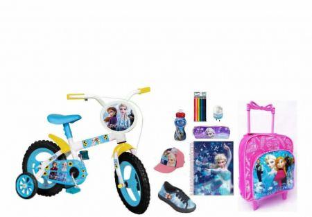 Bicicleta Frozen 2 + Tênis + Mochila P com 9 Itens