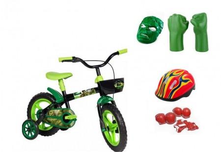 Bicicleta Hulk Aro 12 com 4 itens