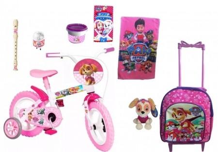 Bicicleta Infantil Patrulha Canina Feminina Mochila c/ 8 itens