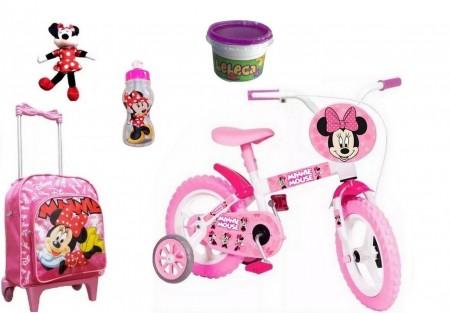 Bicicleta Minnie Aro 12 com 5 itens