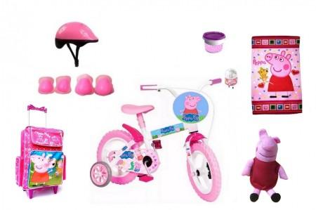 Bicicleta Peppa Pig Aro 12 com 8 itens