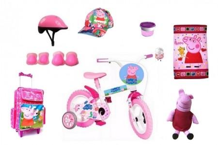 Bicicleta Peppa Pig Aro 12 com 9 itens