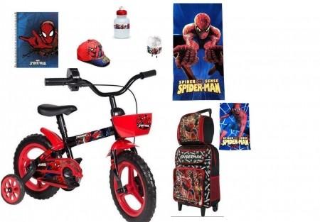Homem Aranha com bicicleta e 8 itens
