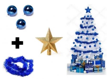 Kit Árvore De Natal Branca + Decoração - 1,80m