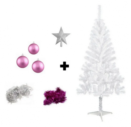 Kit Árvore De Natal Branca Decorada - 1,50