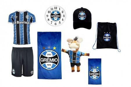 Combo Time - Uniforme e acessórios Grêmio  8 itens