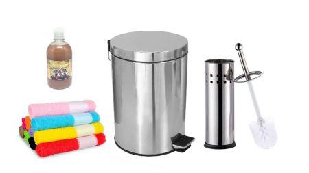 Lixeira Aço Inox - 1 De 12 Litros + 1 Escova Sanitária + 2 Brindes