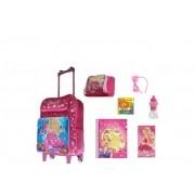 Mochila Escolar Barbie com 7 itens