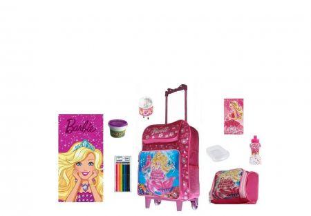 Mochila Escolar Barbie com 9 itens