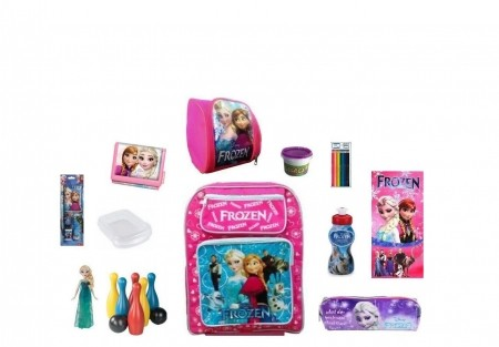 Mochila Escolar Frozen com 12 itens inclusos