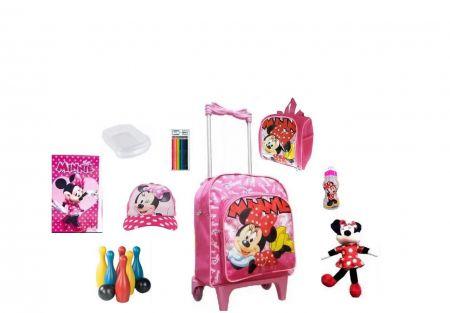 Mochila Escolar Minnie Mouse com 9 itens inclusos