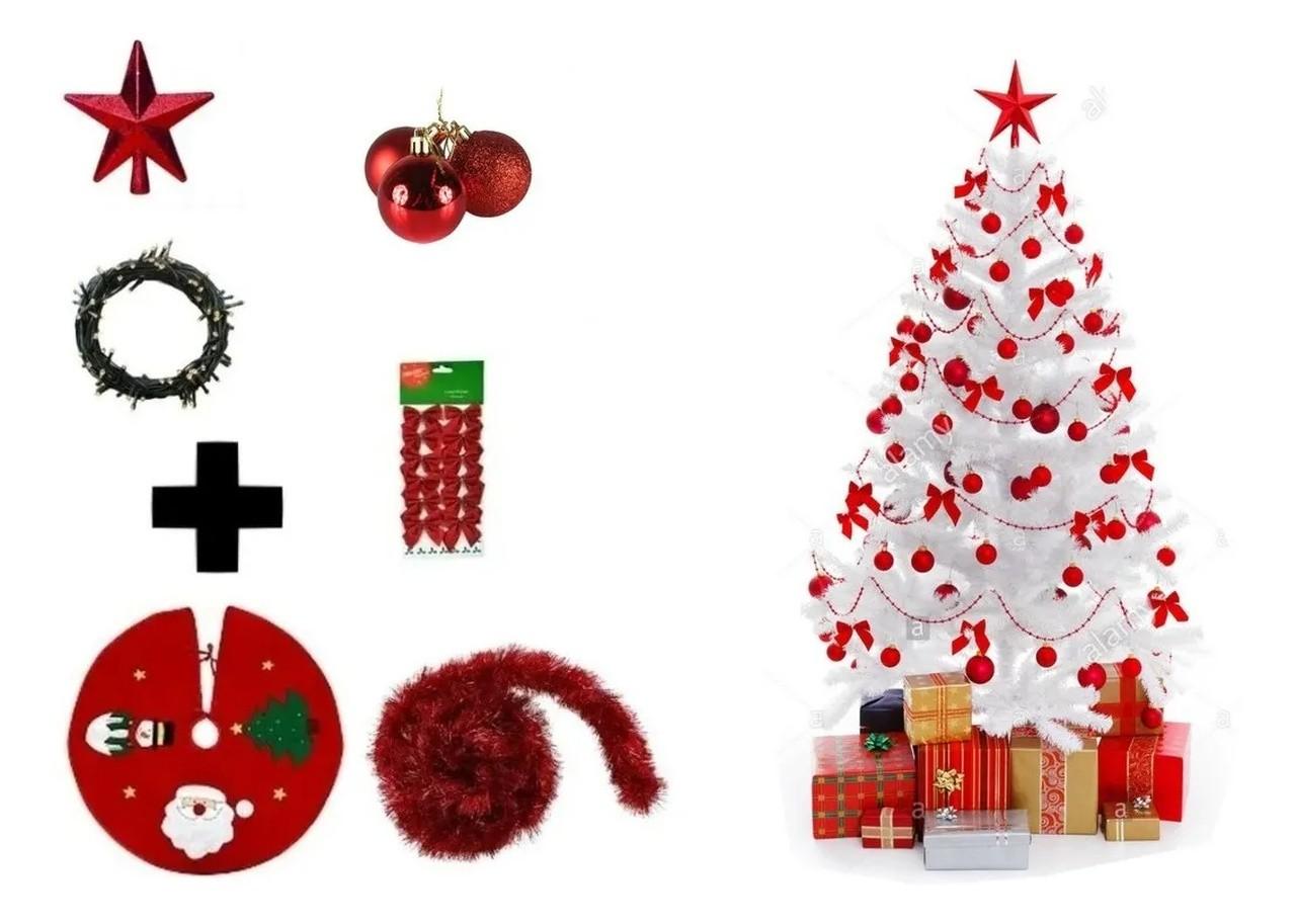 Árvore De Natal Branca Decorada 1,50 Cm 250 Galhos Com 7 Itens