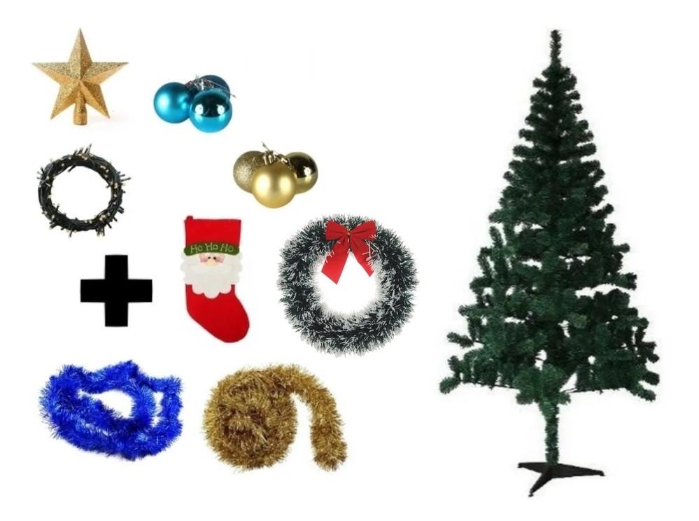 Árvore De Natal Decorada 1,50 Cm 250 Galhos Com 8 Itens
