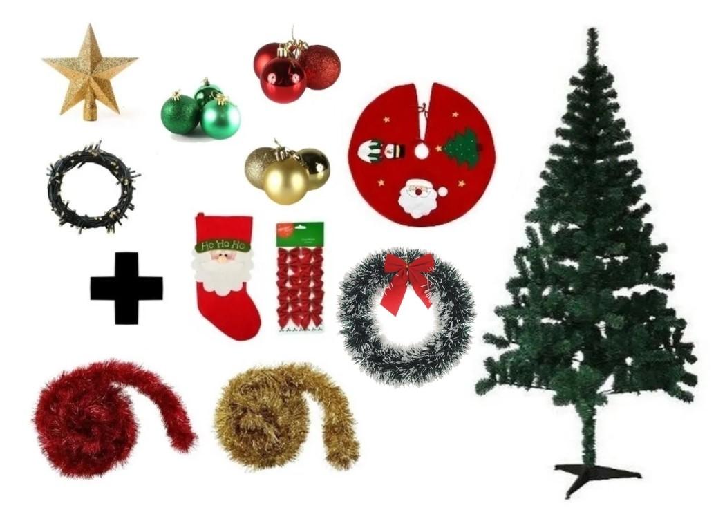 Árvore De Natal Decorada 1,80 Cm 320 Galhos Com 11 Itens