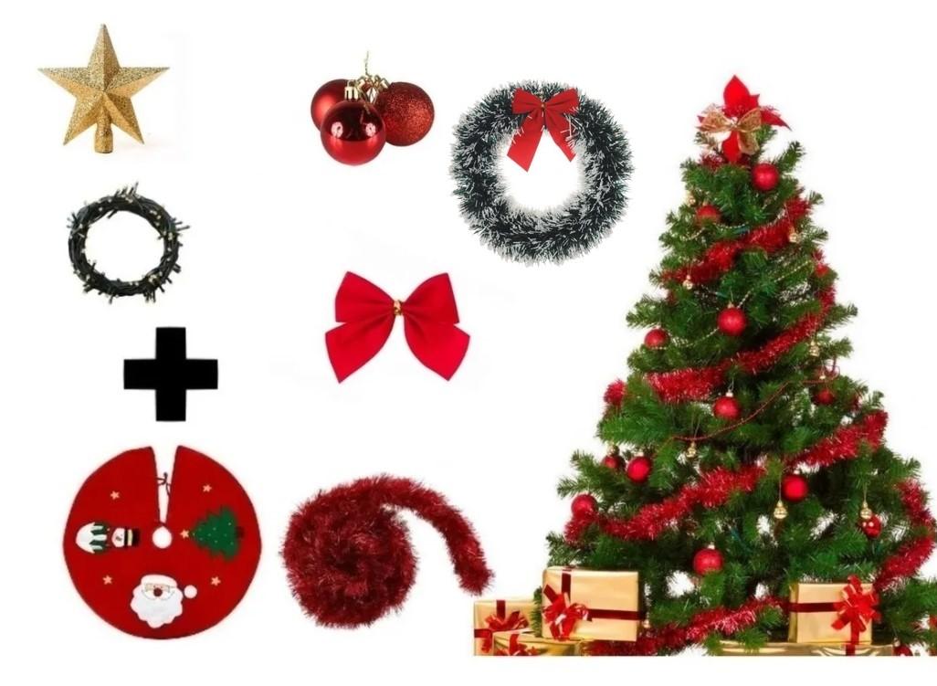 Árvore De Natal Decorada 2,10 Cm 450 Galhos Com 7 Itens