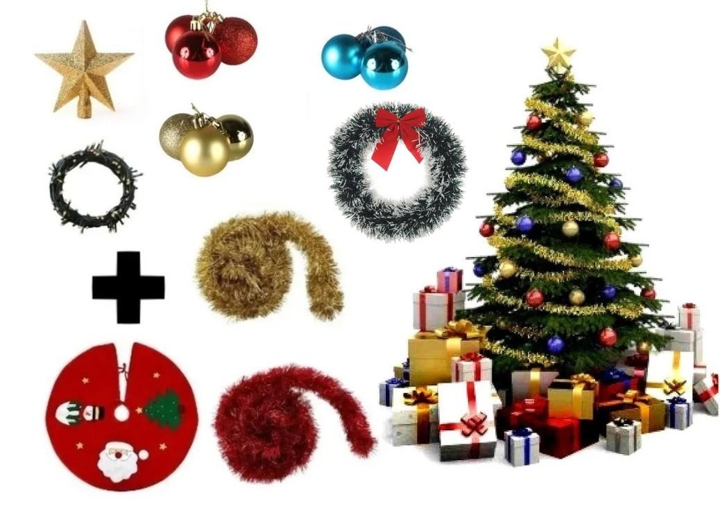 Árvore De Natal Decorada 2,10 Cm 450 Galhos Com 9 Itens