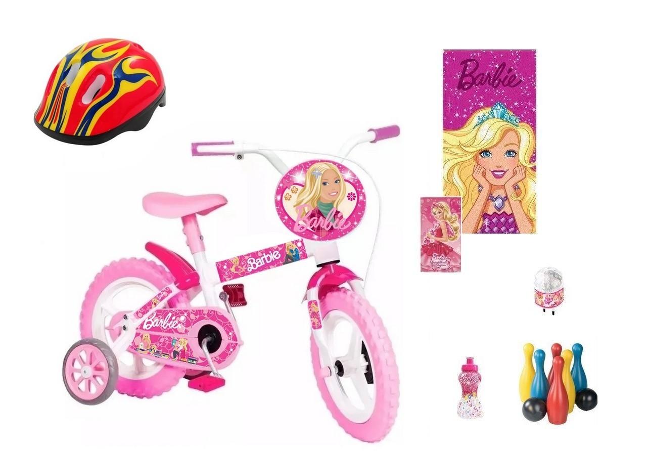 Bicicleta da Barbie Aro 12 com 7 itens (P)