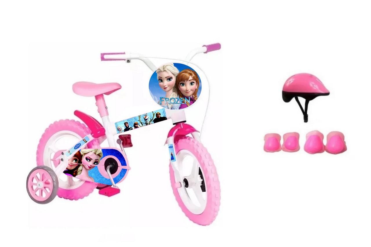 Bicicleta Frozen Aro 12 com Capacete e Proteção